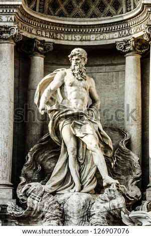 Trevi Fountain, Rome - Italy. Trevi Fountain (Fontana di Trevi) is one of the most famous landmark in Rome. - stock photo