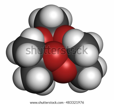 Triacetone triperoxide (TATP, acetone peroxide) explosive molecule. 3D rendering. Atoms are represented as spheres with conventional color coding: hydrogen (white), carbon (grey), oxygen (red).