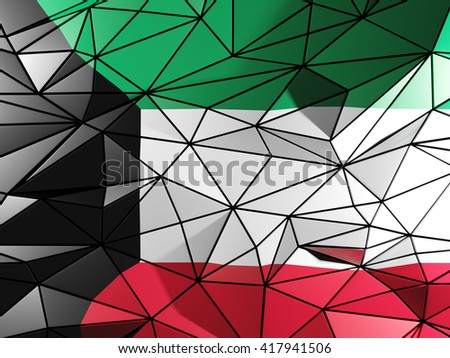 Triangle background with flag of kuwait. 3D illustration - stock photo