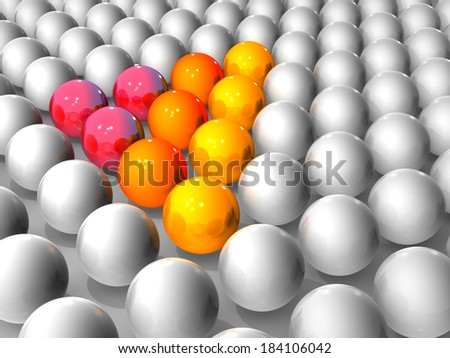 Triangle icon. It is composed of a ball aligned. - stock photo