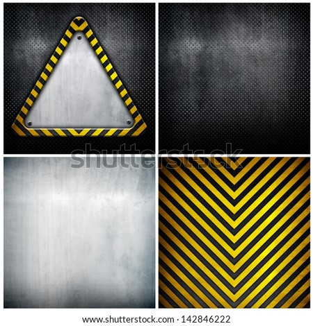 triangle metal plate with image layers - stock photo