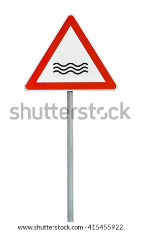 Triangle on rod road sign river attention - stock photo