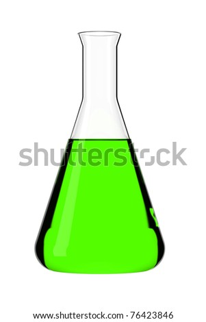 Triangle retort with green liquid on white glowing background