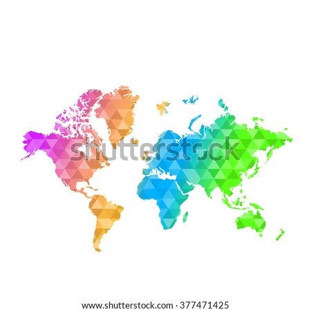 Triangle shape multicolor world map illustration stock illustration triangle shape multi color world map illustration design graphic gumiabroncs Image collections