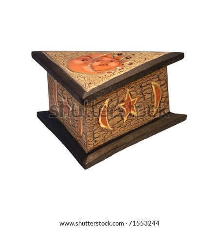 Triangle wooden box isolated with clipping path included
