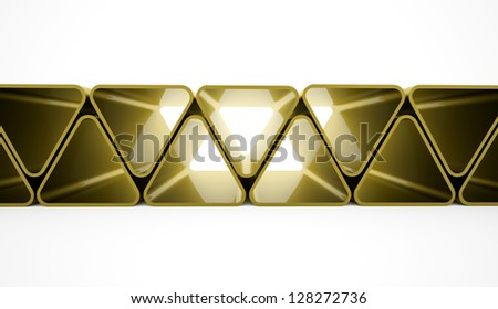 Triangles concept from yellow elements - stock photo