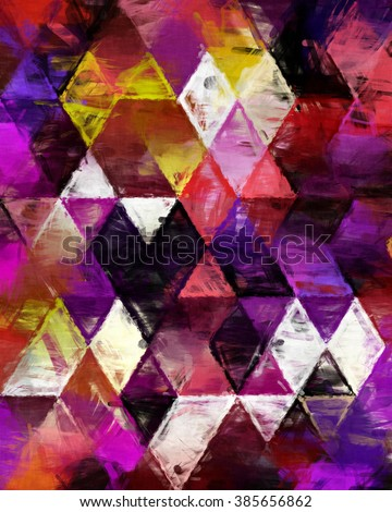 triangles painting, triangles impressionism, background geometry painting, impressionism geometry design, creative painting decoration, background impressionism pattern,  - stock photo