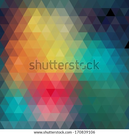 Triangles pattern of geometric shapes. Colorful mosaic backdrop. Geometric hipster retro background, place your text on the top of it. Retro triangle background. Backdrop. Triangle.