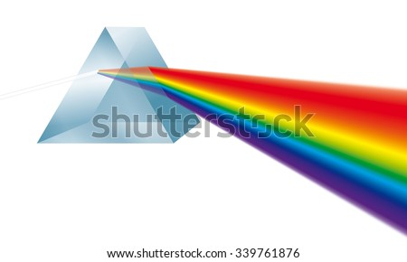 Triangular prism breaks white light ray into rainbow spectral colors. Illustration on white background. - stock photo