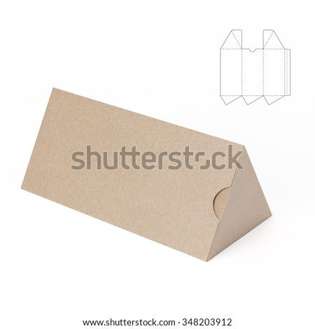 Triangular Tube Box with Die Cut Template - stock photo