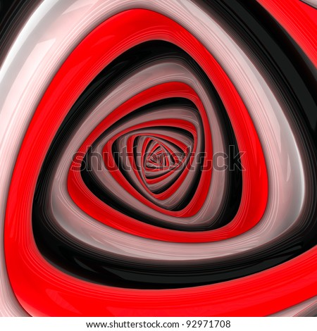 Triangular vortex of black, white, red colors - stock photo