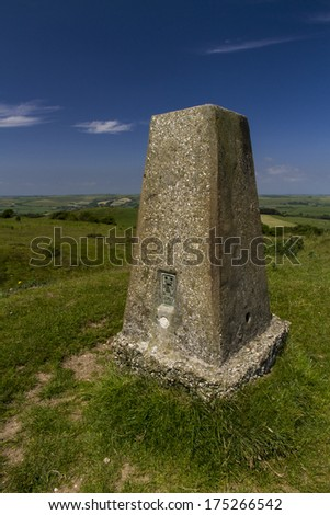 Triangulation Point on Abbotsbury Castle ancient earthwork, Abbotsbury, Dorset, England, United Kingdom.
