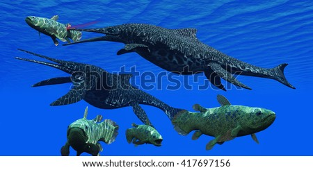 Triassic Shonisaurus Marine Reptile 3D Illustration - A Shonisaurus Ichthyosaur stabs a Coelacanth fish trying to get away from these predators in a Triassic ocean. - stock photo