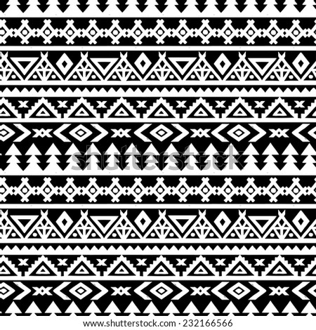 Tribal art ethnic seamless pattern. Folk abstract geometric repeating background texture. Fabric design. Wallpaper  - stock photo
