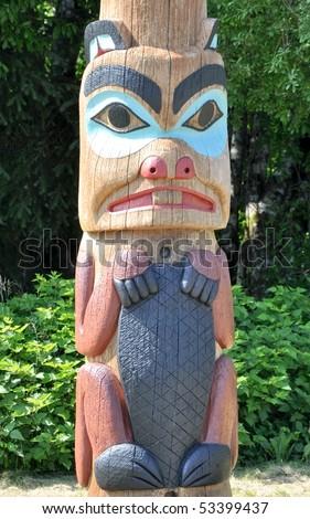 tribal beaver on totem - stock photo
