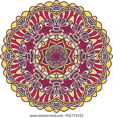Tribal color element for design. Mandala isolated on white background. Rasterized version. - stock photo