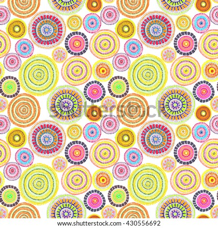 Tribal design with dots in style of aborigines of Australia. Seamless pattern. Hand painted contemporary art