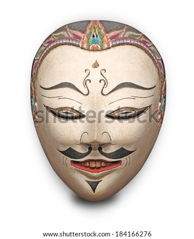 tribal face mask  isolated on white background - stock photo