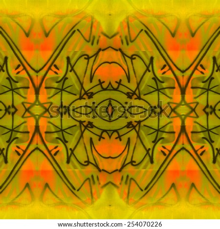 Tribal Scribbles Design in warm colors with a soft, grungy effect.has a ethnic, tribal appeal.  - stock photo