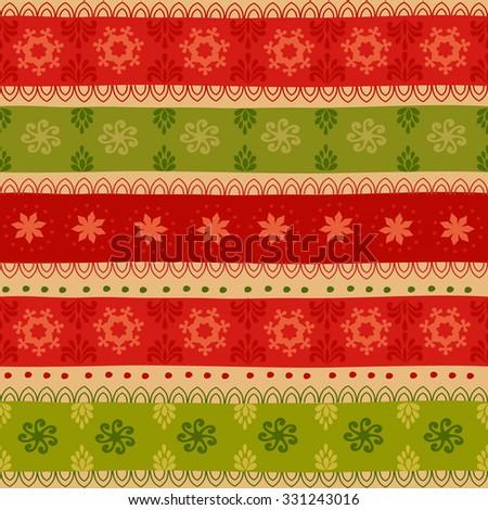 Tribal seamless Christmas pattern. - stock photo