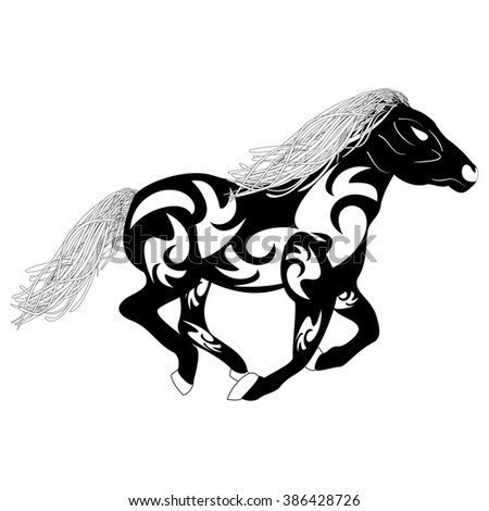 Tribal sketch silhouette of a running horse