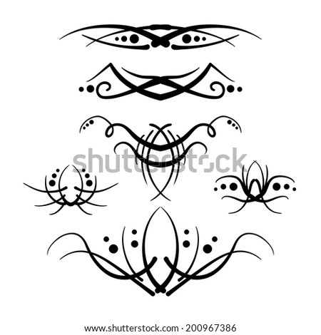 Tribal style decorative elements - stock photo