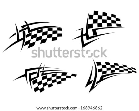 Tribal tattoos set with racing flag for sport design or logo idea. Vector version also available in gallery - stock photo