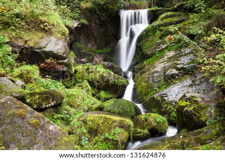 Triberg Falls is one of the highest waterfalls in Germany - stock photo