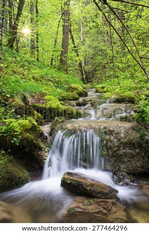 Tributary stream of the Leitzach river with small waterfall, fresh green leaves and sunstar, Bavaria, Germany - stock photo