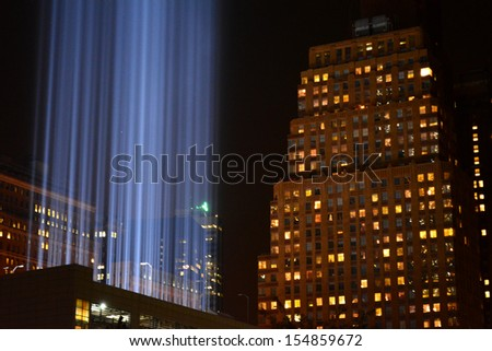 Tribute in Light shines in Lower Manhattan marking the anniversary of the attacks on the World Trade Center.