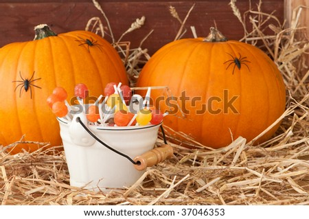 Trick or treat at Halloween with pumpkins and candies