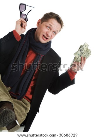 Tricky and greedy man with lots of cash on a white background