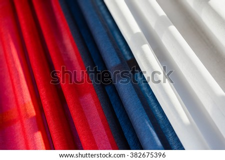Tricolor drapery with red, blue and white - stock photo