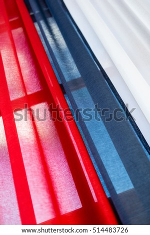Tricolor drapery with red, blue and white
