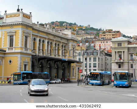 TRIESTE, ITALY - AUGUST 9, 2013: Central coach bus station in port city Trieste, Italy, Europe. - stock photo