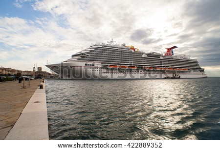 TRIESTE, ITALY - MAY, 01: View of the newest carnival cruise ship docked in Trieste on May 01 2016 - stock photo