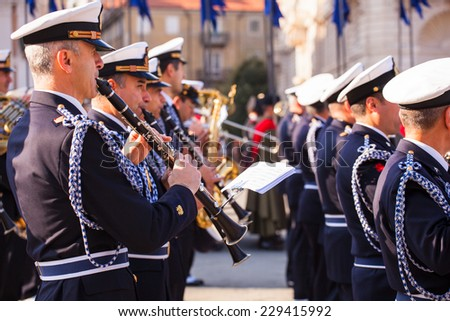 TRIESTE, ITALY - NOVEMBER, 04: Concert band during the celebrations for the 4th of November, National Unification and Armed Forces�¢?? Day, on November 04, 2014 - stock photo
