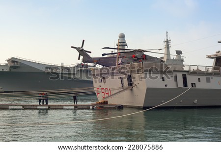 TRIESTE, ITALY - NOVEMBER, 02: View of the Frigata Virginio Fasan of the Italian Navy on November 02, 2014 - stock photo