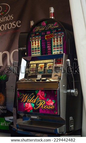 TRIESTE, ITALY - OCTOBER, 10: View of the slot machine on October 10, 2014 - stock photo