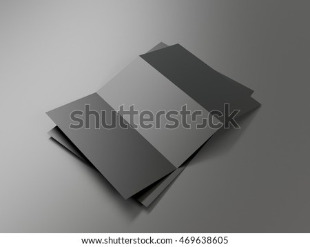 Trifold black paper brochure mockup template stock for Cardboard brochure holder template