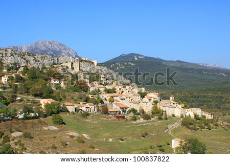 Trigance village in south of france - stock photo