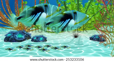 Triggerfish - Triggerfish parents watch over their baby fry young as they swim along a coral reef. - stock photo
