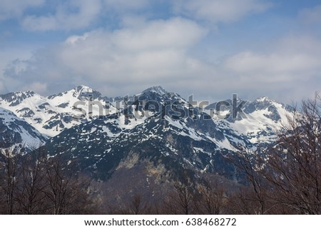 Triglav mountain in winter in Julian Alps