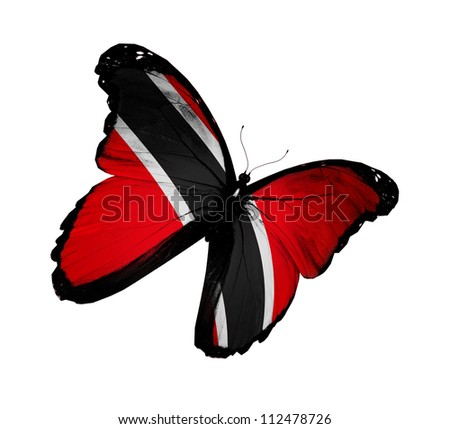 Trinidad and Tobago flag butterfly flying, isolated on white background - stock photo