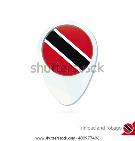 Trinidad and Tobago flag location map pin icon on white background. Raster copy.