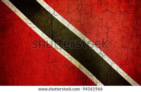 Trinidad and Tobago flag on a cracked grunge background - stock photo