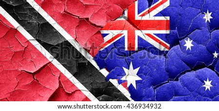 Trinidad and tobago flag with Australia flag on a grunge cracked