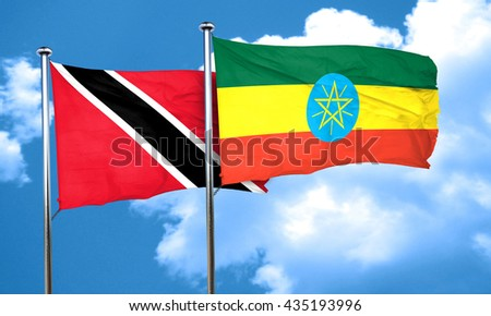 Trinidad and tobago flag with Ethiopia flag, 3D rendering  - stock photo