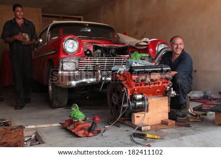 Trinidad cuba february 18 2014 men to repair classic for American classics garage