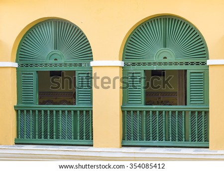 Trinidad de Cuba colonial architectural details. Showing vintage constructions Trinidad is like an open air museum of the Spanish colony in the Caribbean Island.It is a Unesco World Heritage Site - stock photo